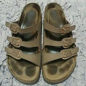Birkenstock Three Strap Leather Sandals Size 40